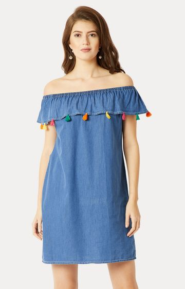 MISS CHASE | Blue Solid Tassel Detailing Ruffled Bardot Dress