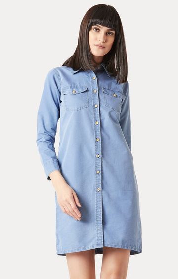 MISS CHASE | Light Blue Denim Solid Buttoned Knee-Long Dress