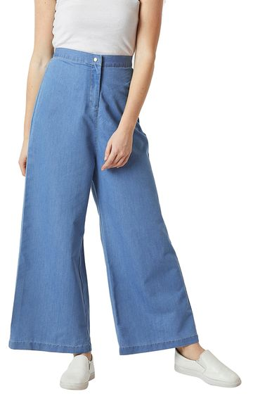 MISS CHASE | Blue Flared Wide Leg Stretchable Pants
