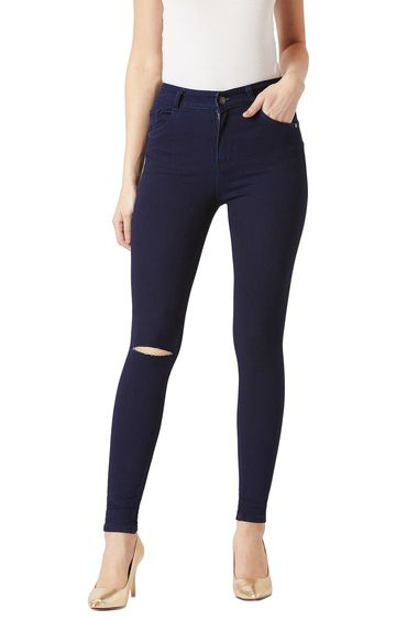 MISS CHASE | Navy Solid Mid Rise Knee Slit Stretchable Straight Jeans