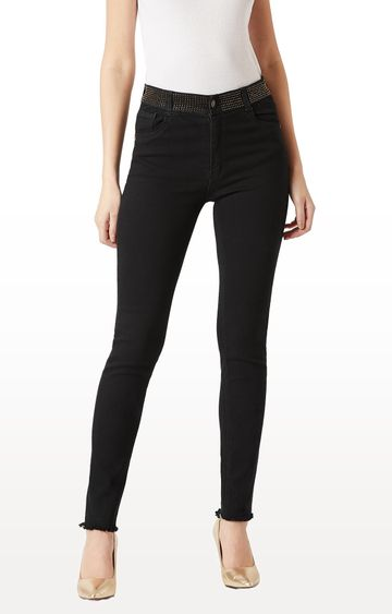 MISS CHASE   Black Solid Embellished Raw Edge Detailing Waistband High Rise Jeans