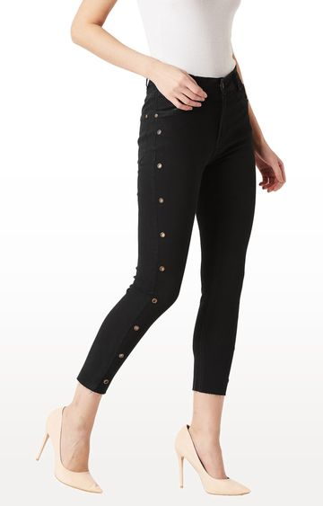 MISS CHASE | Black Solid Length Eyelet Detailing High Rise Cropped Jeans