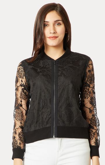 MISS CHASE   Black Solid Lace Detailing Embroidered Bomber Jacket