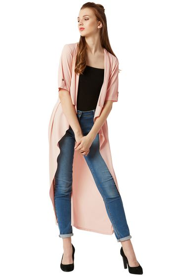 MISS CHASE   Light Pink Solid Maxi Waterfall Shrug