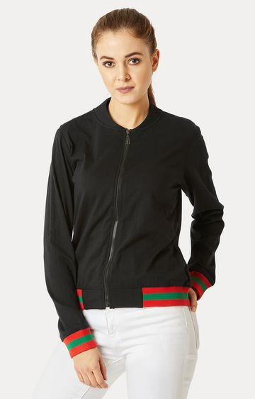 MISS CHASE   Black Ribbed Solid Bomber Jacket