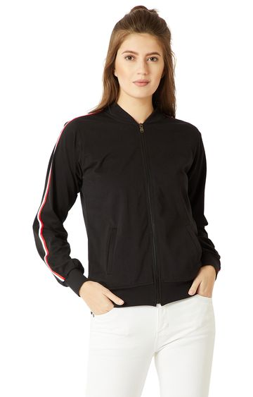 MISS CHASE   Black Solid Twill Tape Detailing Bomber Jacket
