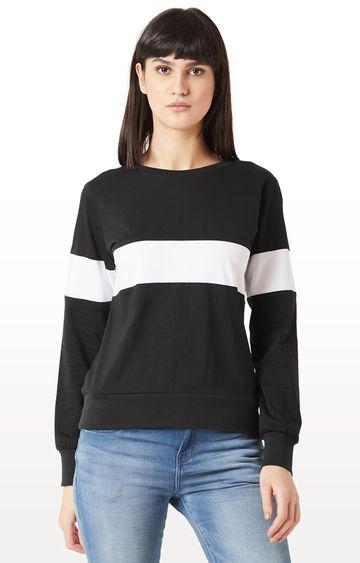 MISS CHASE | Black Solid Sweatshirt