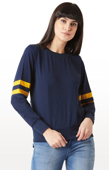 MISS CHASE | Navy Solid Sweatshirt