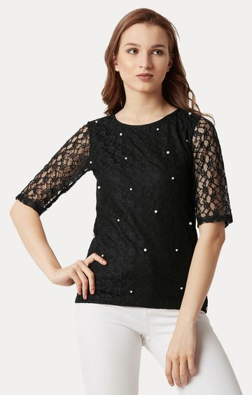 MISS CHASE   Black Pearl Solid Lace Top