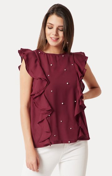 MISS CHASE | Maroon Solid Ruffled Pearl Detailing Top