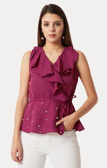 MISS CHASE | Magenta Solid Embellished Ruffled Top