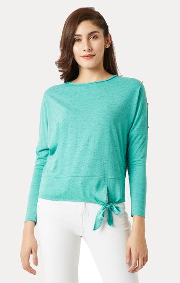 MISS CHASE | Green Melange Panelled Tie-Up Top