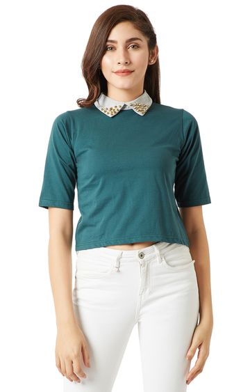 MISS CHASE | Green Solid Embellished Collar Crop Top