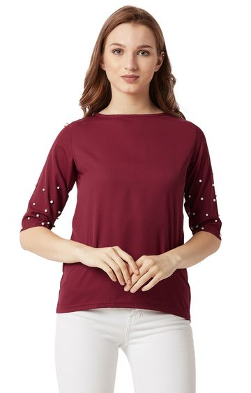 MISS CHASE | Maroon Pearl Solid Top