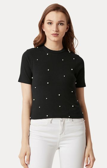 MISS CHASE   Black Solid Pearl Detailing Top