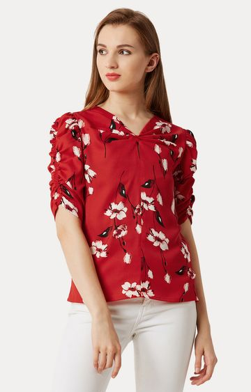 MISS CHASE | Red Floral Slit Cut-Out Gathered Top