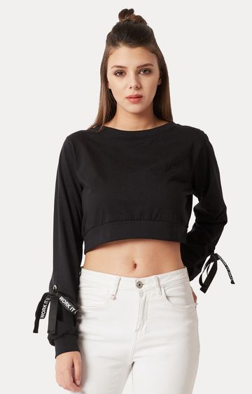MISS CHASE | Black Solid Eyelet Detailing Boxy Crop Top