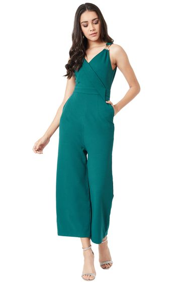 MISS CHASE | Green Solid Jumpsuit