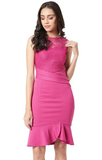 MISS CHASE | Magenta Solid Bodycon Dress