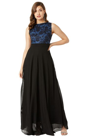 MISS CHASE   Blue and Black Floral Maxi Dress
