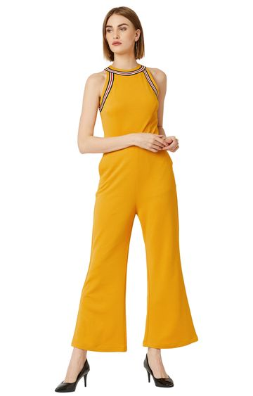 MISS CHASE | Mustard Yellow Solid Jumpsuit