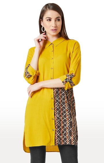 MISS CHASE | Yellow Printed Tunic