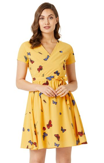 MISS CHASE   Yellow Printed Skater Dress