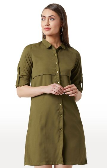 MISS CHASE | Olive Solid Shirt Dress