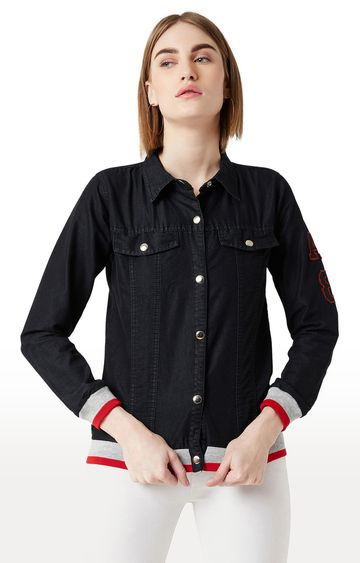 MISS CHASE | Black Solid Denim Jacket
