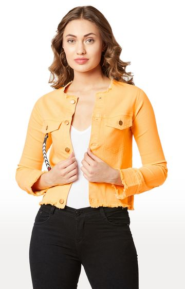 MISS CHASE | Yellow Solid Denim Jacket