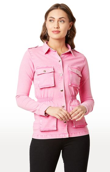 MISS CHASE | Pink Solid Denim Jacket