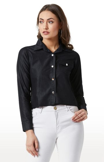 MISS CHASE | Black Solid Snap Button Detailing Casual Cropped Shirt
