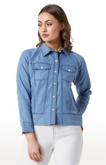 MISS CHASE | Light Blue Solid Flap Detailing Denim Jacket