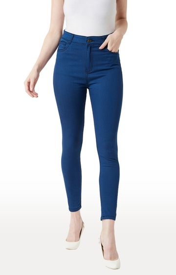 MISS CHASE | Carbon Blue Solid Tapered Jeans