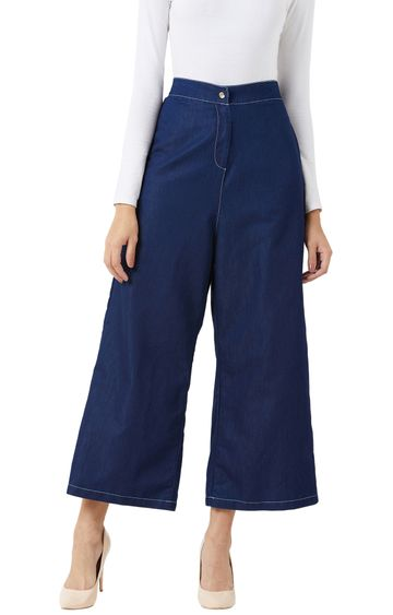 MISS CHASE   Navy Blue Cropped Chinos