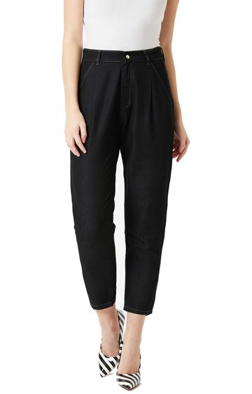 MISS CHASE   Black Solid Cropped Jeans