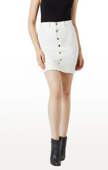 MISS CHASE | White Solid Pencil Skirt