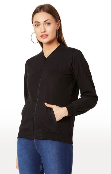 MISS CHASE | Black Solid Sweatshirt
