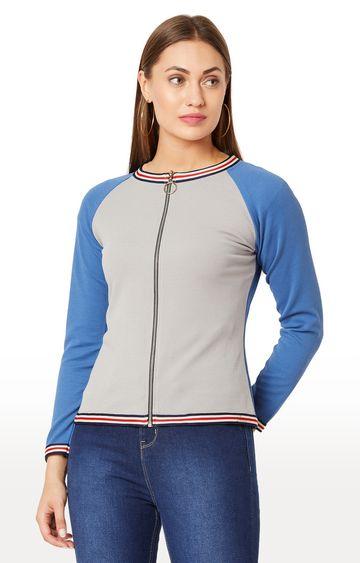 MISS CHASE   Grey Solid Sweatshirt