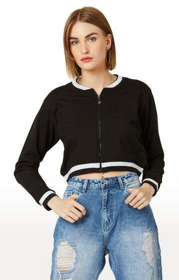 MISS CHASE   Black Solid Jacket