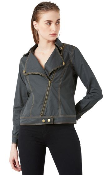 MISS CHASE | Green Solid Front Open Jacket