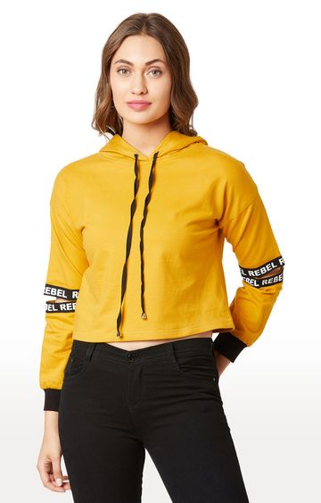 MISS CHASE | Mustard Solid Hoodie