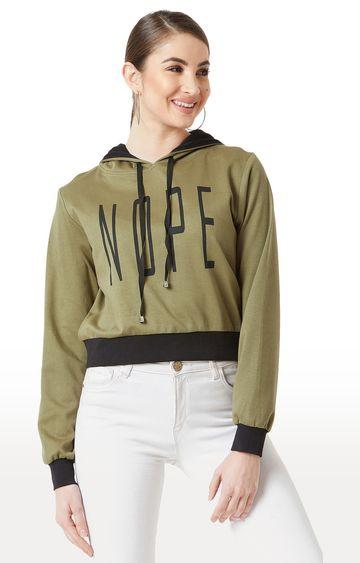 MISS CHASE | Olive Printed Sweatshirt