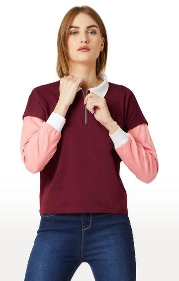MISS CHASE | Maroon Solid Sweatshirt