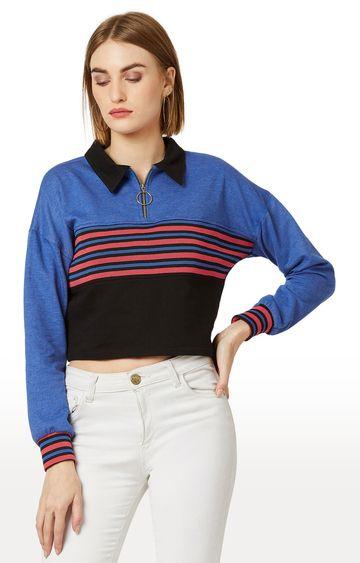MISS CHASE | Blue Striped Sweatshirt