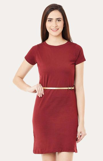MISS CHASE | Maroon Short Sleeves Round Neck Solid Mini Shift Dress