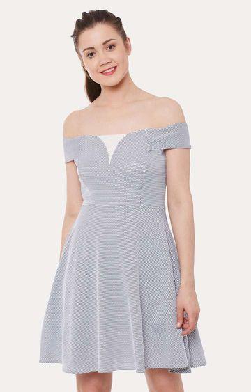 MISS CHASE | Black and White Geometric Mini Bardot Dress