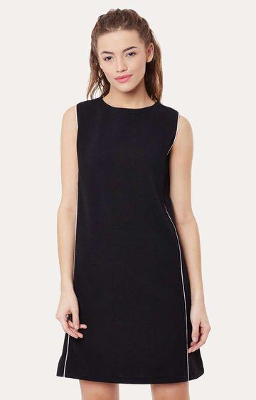 MISS CHASE | Black Round Neck Sleeveless Mini Shift Dress