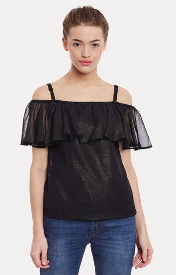 MISS CHASE   Black Embellished Top
