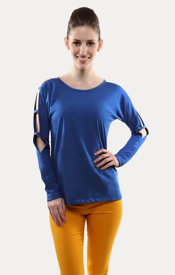 MISS CHASE | Blue Show and Tell Ladder Sleeve T-Shirt